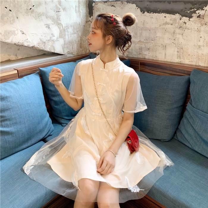【送料無料】 透け感オシャレなメッシュスティッチ♡ チャイナドレス風 ワンピース レトロ ガーリー