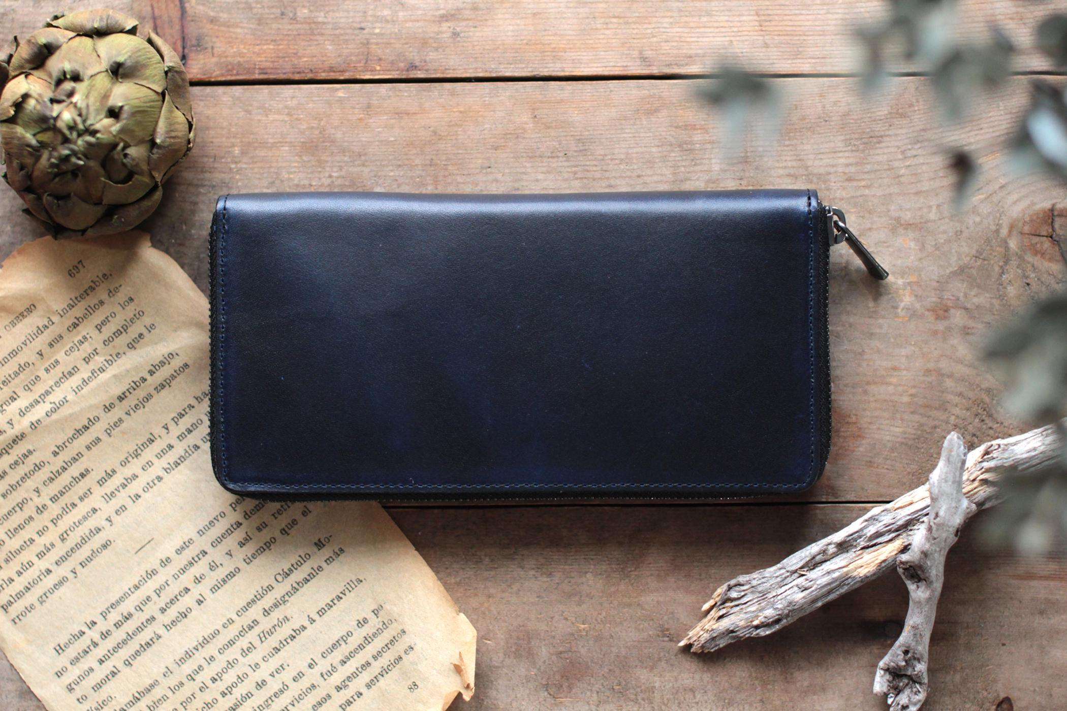 藍染革[migaki&bridle] ×オイルレザー ラウンドファスナー長財布