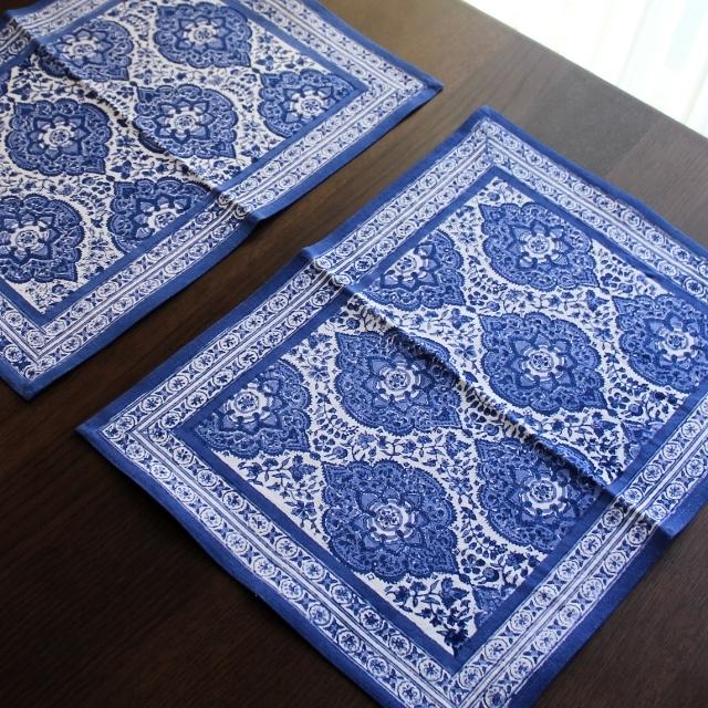 ブロックプリント テーブルマット ブルー
