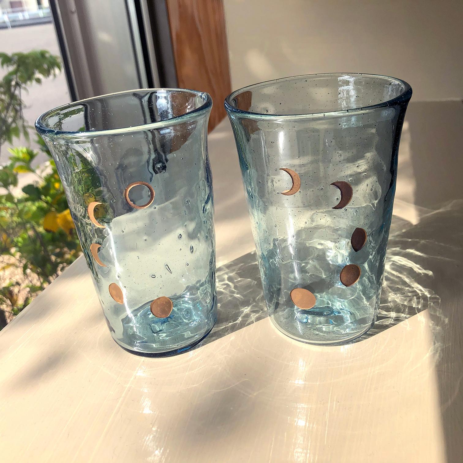 月の満ち欠けペアグラス(2個セット)薄い青