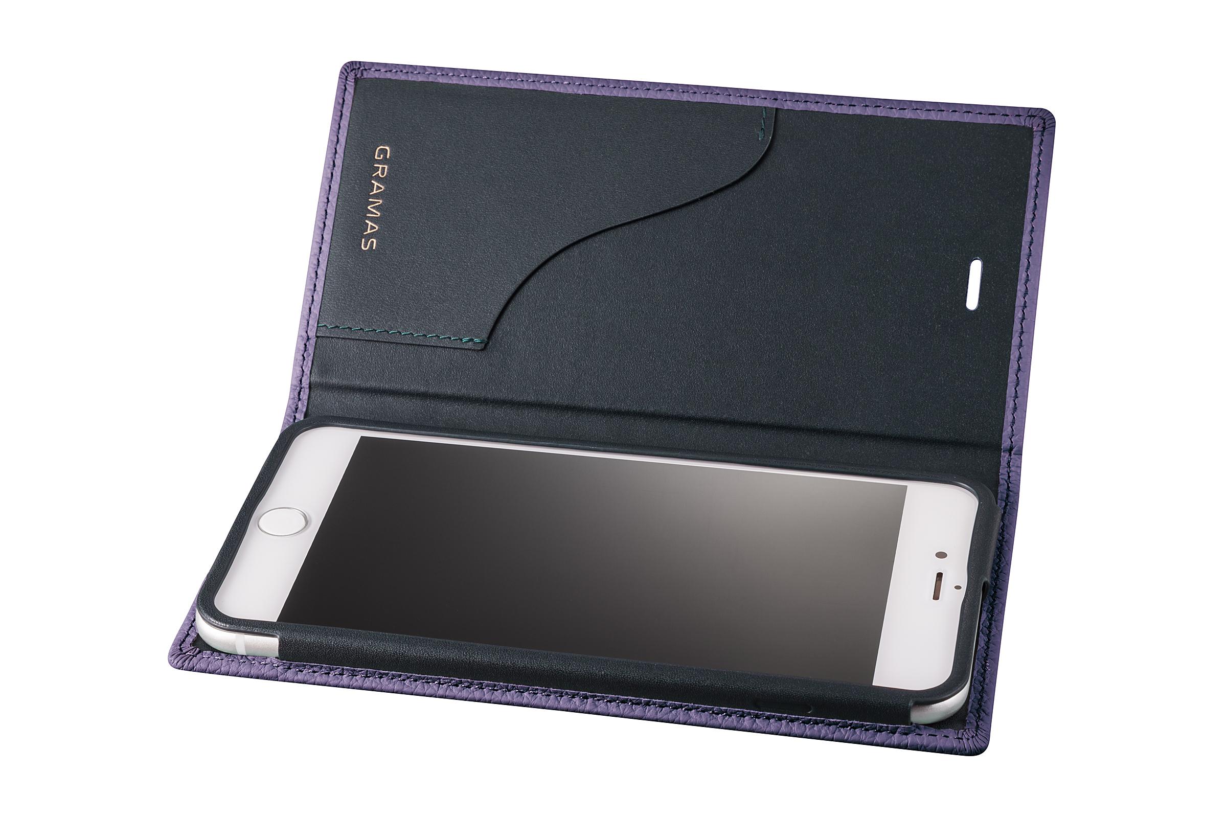 GRAMAS Shrunken-calf Full Leather Case for iPhone 7 Plus(Purple) シュランケンカーフ 手帳型フルレザーケース - 画像3