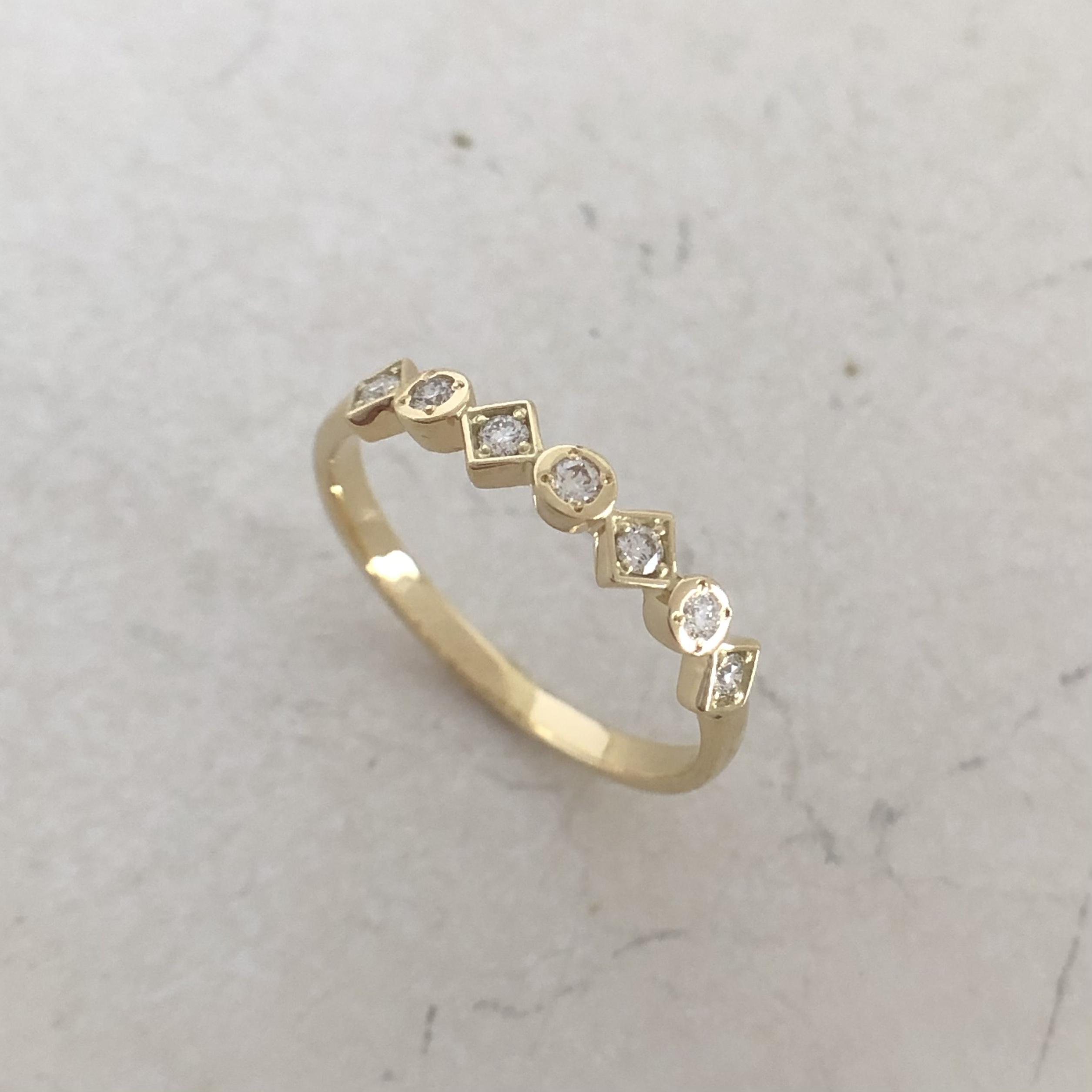 ハート& キューピッド ダイヤモンド リング  0.10ct  K18イエローゴールド  チェカ 鑑別書付