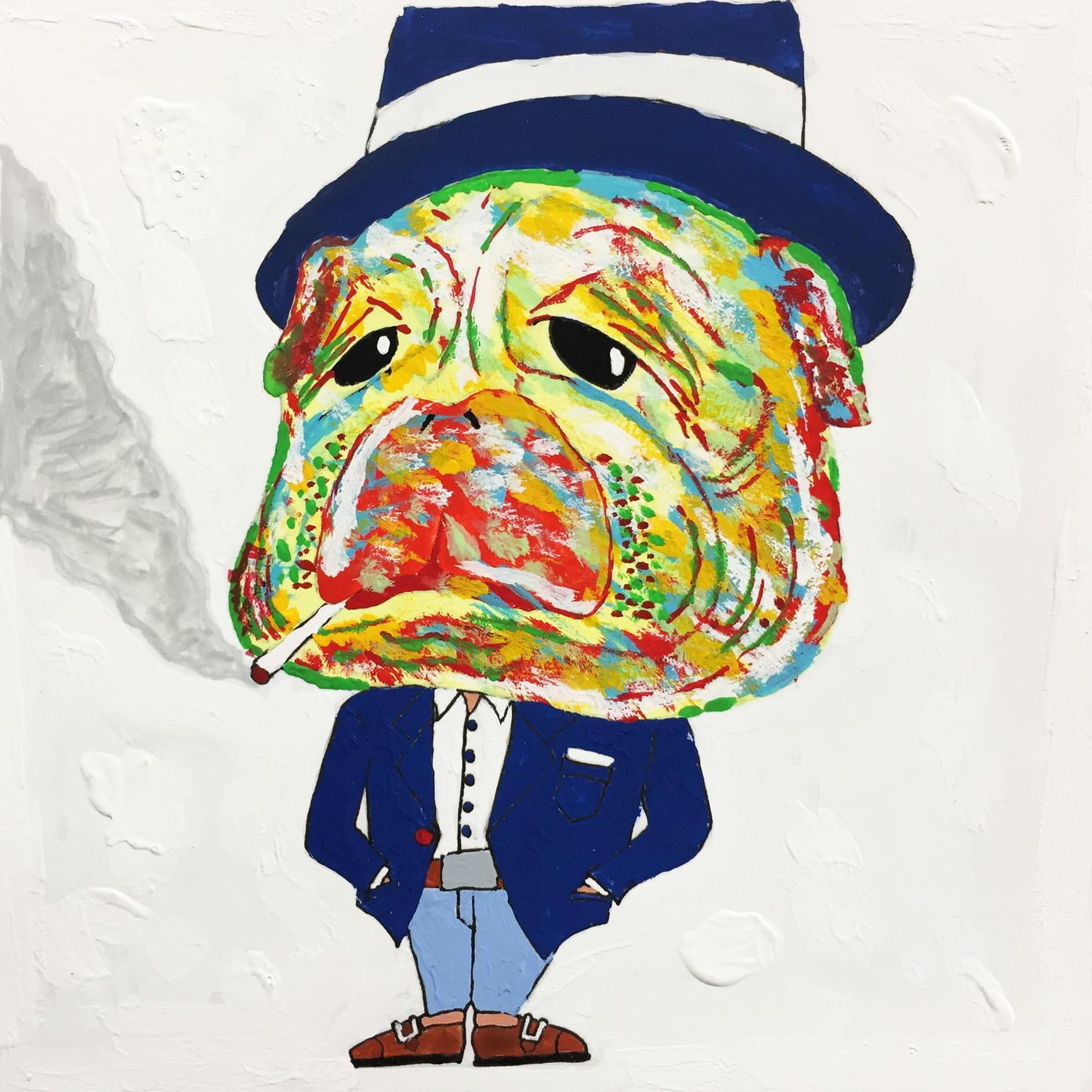 絵画 インテリア アートパネル 雑貨 壁掛け 置物 おしゃれ アクリル画 イラスト 犬 動物 ロココロ 画家 : yuki 作品 : 黄昏