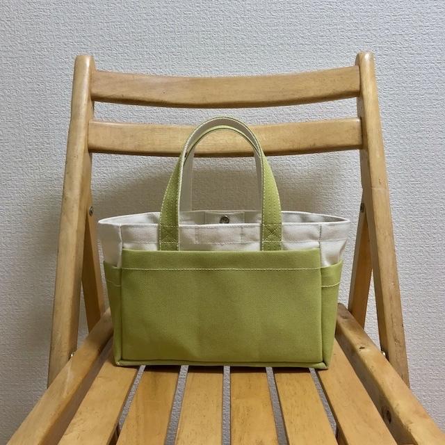 「ボックストート」ミニサイズ 「生成り×ヒワグリーン」 帆布トートバッグ 倉敷帆布8号【受注制作】