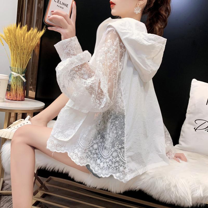 【ランキングNO.1】透け感 UVカット 冷房対策 UV対策 長袖レース刺繡パーカー