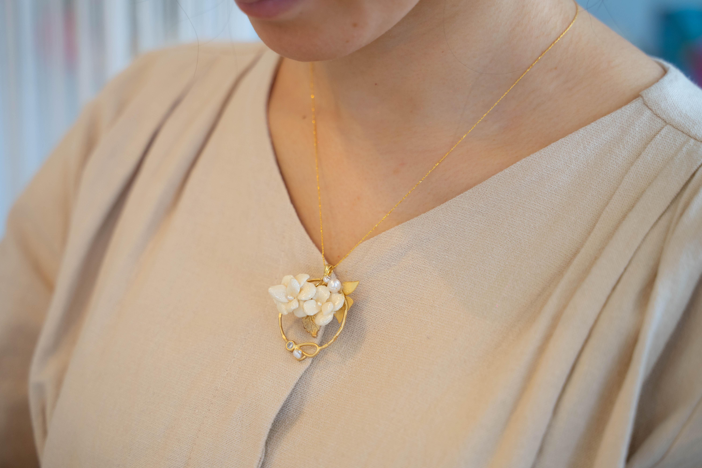 『小花のアレンジネックレス』