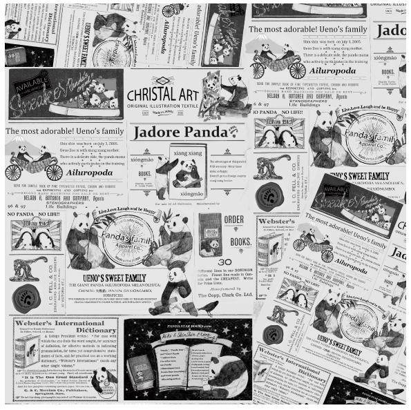 ◆リニューアル◆パンダニュース柄シルキーコットンバンダナ