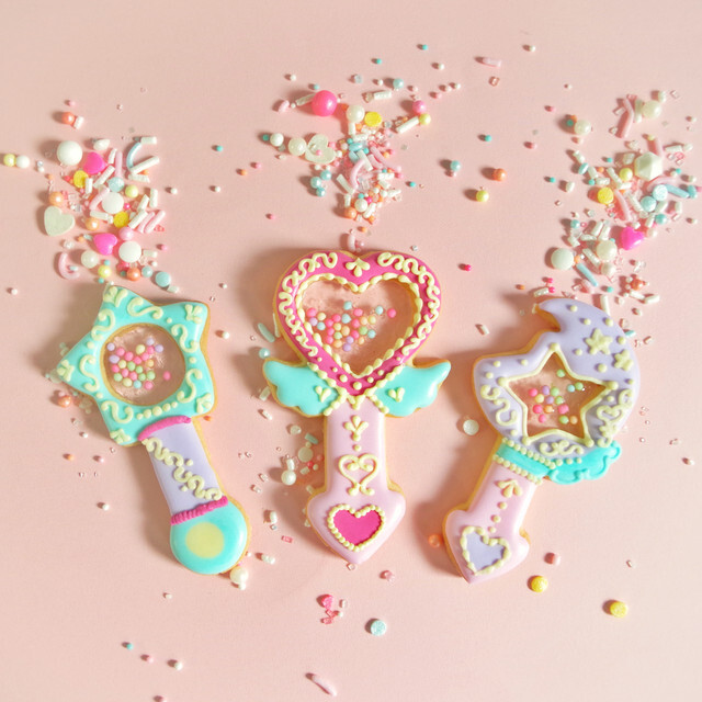 魔法のステッキのアイシングクッキー