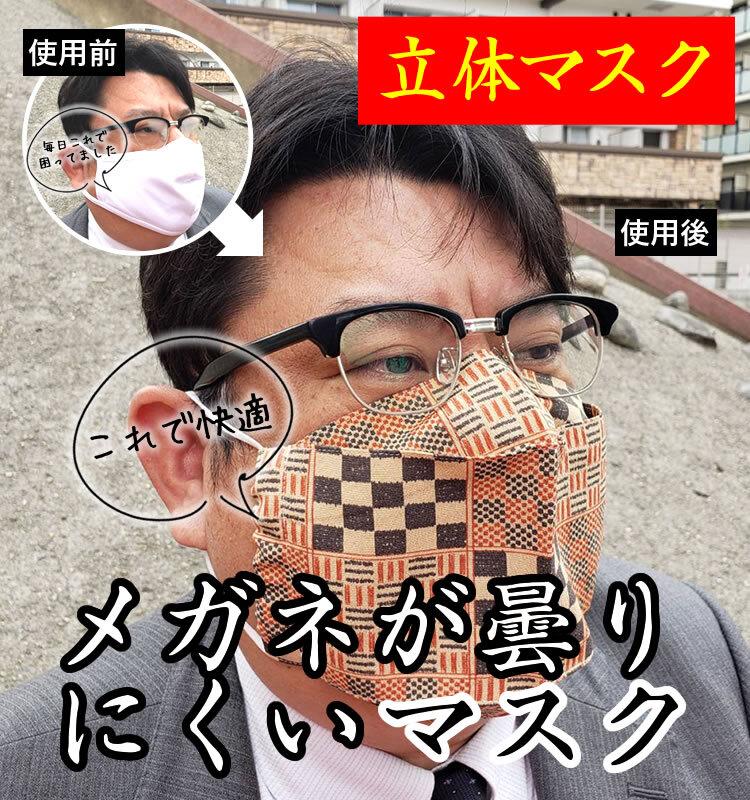 メガネが曇りにくいマスク(立体マスク)