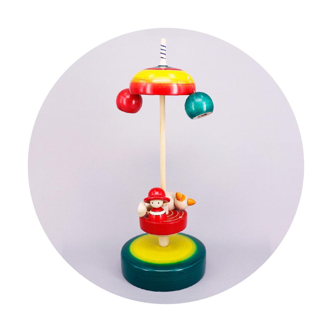 木地玩具 空中散歩 クリ坊とねこ