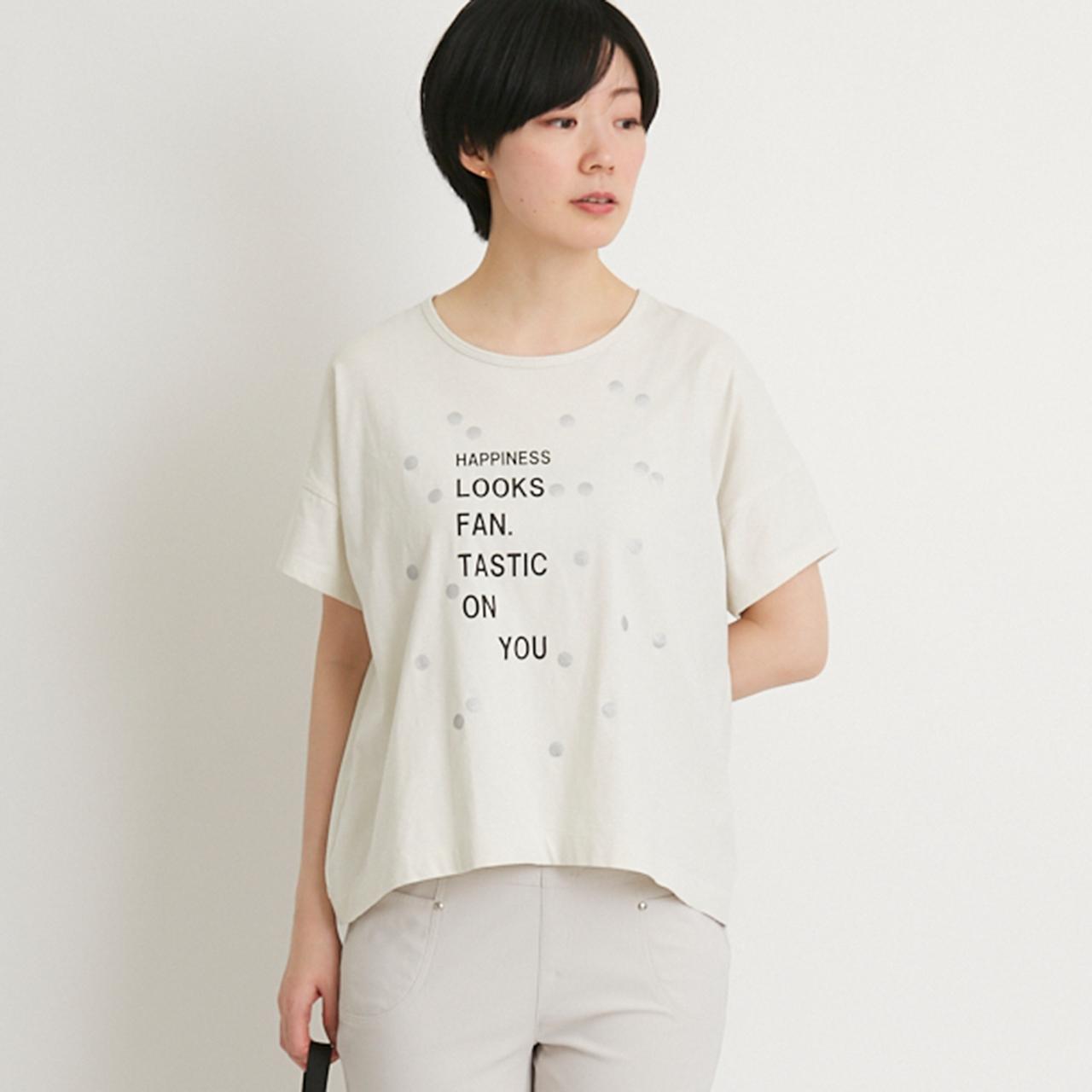 《投票キャンペーン商品》バッグギャザー水玉Tシャツ【レギュラーサイズ】