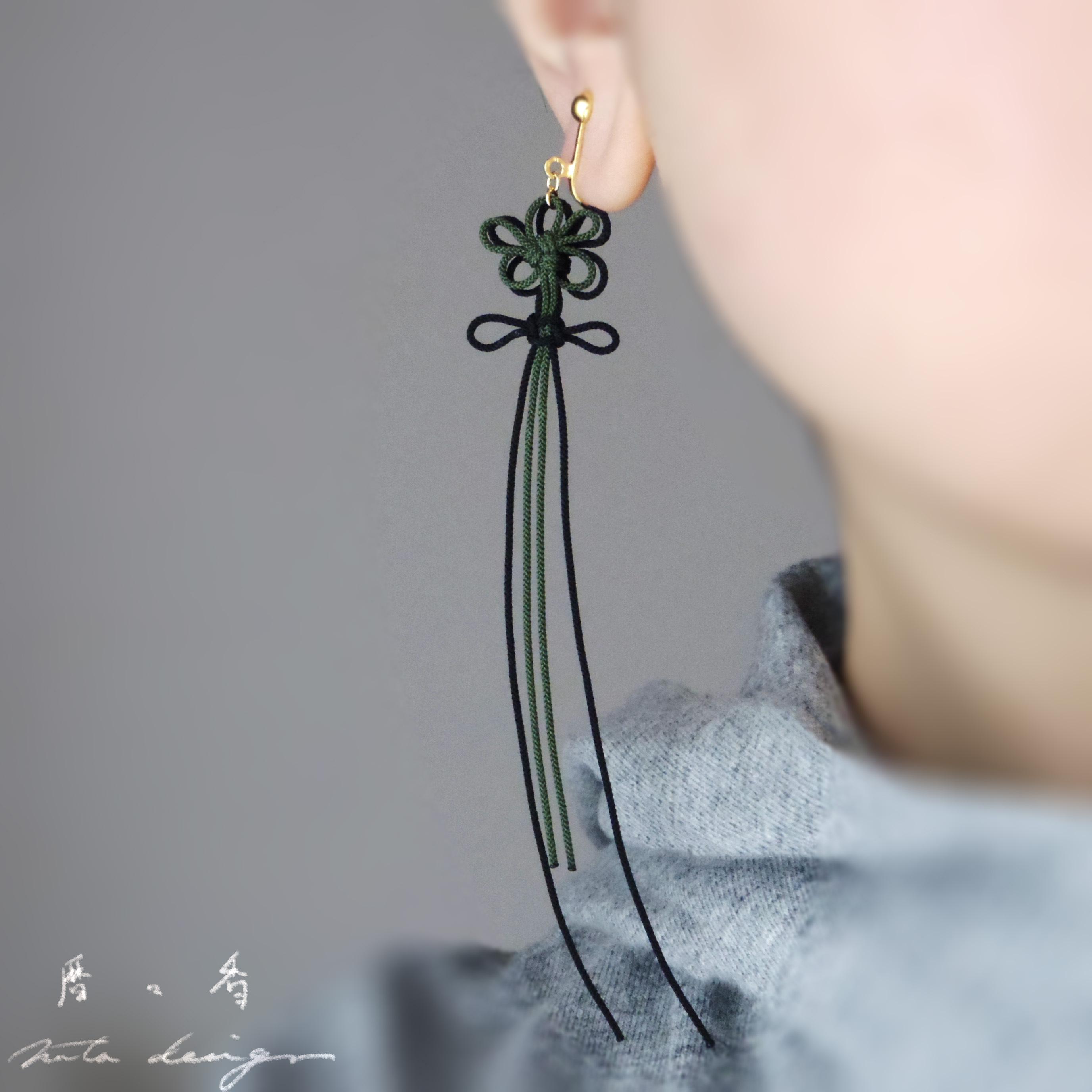 2021.9.14. up かたっぽピアス「暦々香」(深緑×黒)