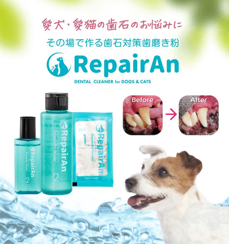 愛犬・愛猫の歯石のお悩みに。その場で作る歯石対策歯磨き粉RepairAnリペアン