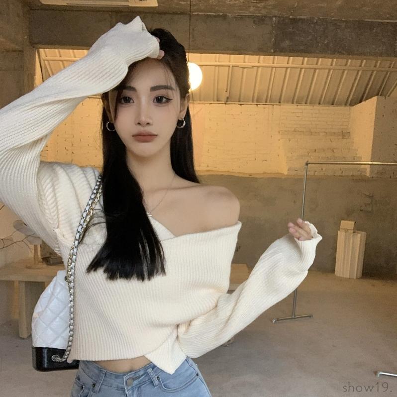 【トップス】韓国風ファッション スウィート 無地 プルオーバー ボートネック セーター51876879