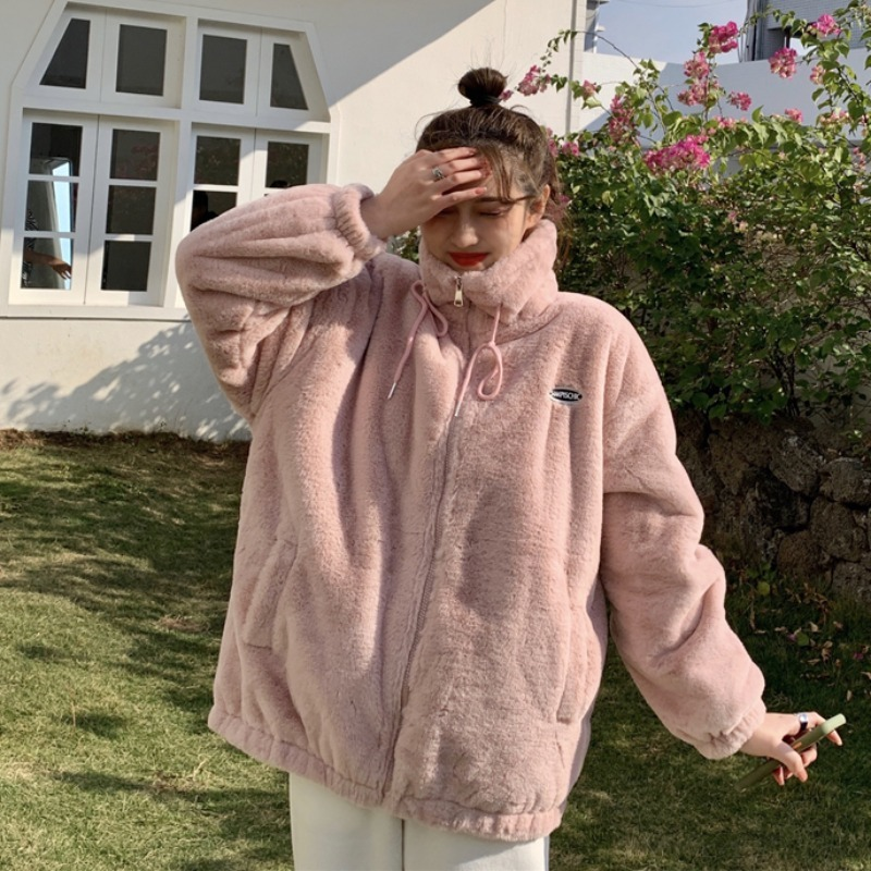 【アウター】韓国風ファッション スウィート ロング スエード 無地 ジッパー ジャケット-2-53584139