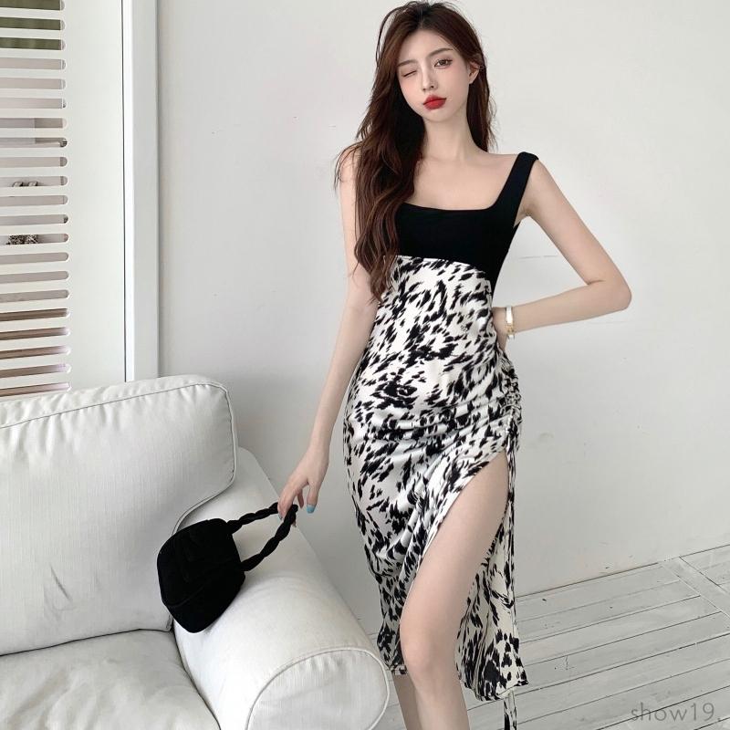 【ワンピース】韓国風ファッション 配色 切り替え スリット ヒョウ柄 タンクトップ ワンピース46176371