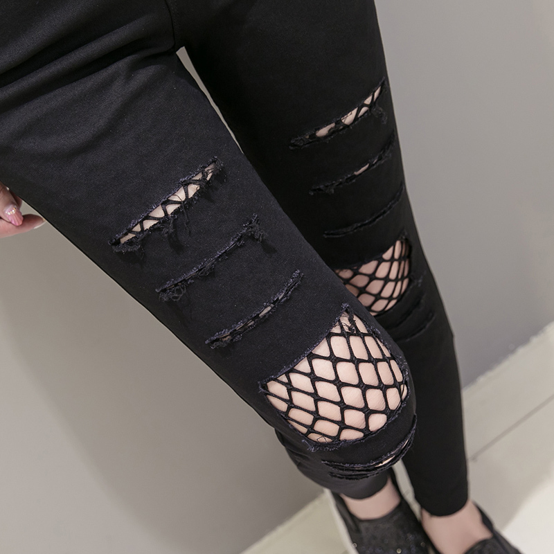 【ボトムス】SNSで大騒ぎファッション無地レギュラー丈ダメージ加工ハイウエストジーンズ42821024