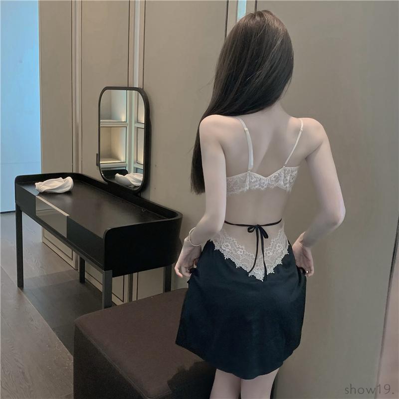 【ルームウェア・パジャマ】セクシー 配色 切り替え 透かし彫り 肌着 キャミソール リボン ワンピース42927228