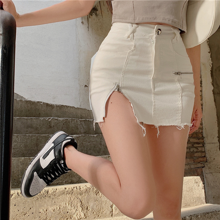 【ボトムス】 抜群なデザイン おすすめ 無地 ハイウエスト スリット ファスナー デニム スカート46491685