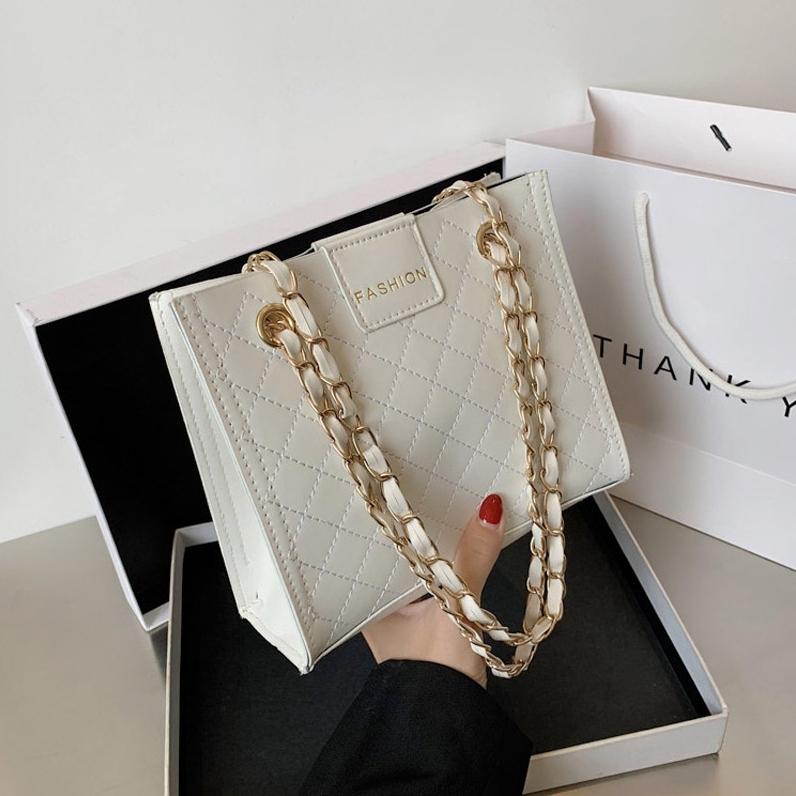 【バッグ】大容量ファッションホックPU幾何模様チェーンショルダーバッグ43022955