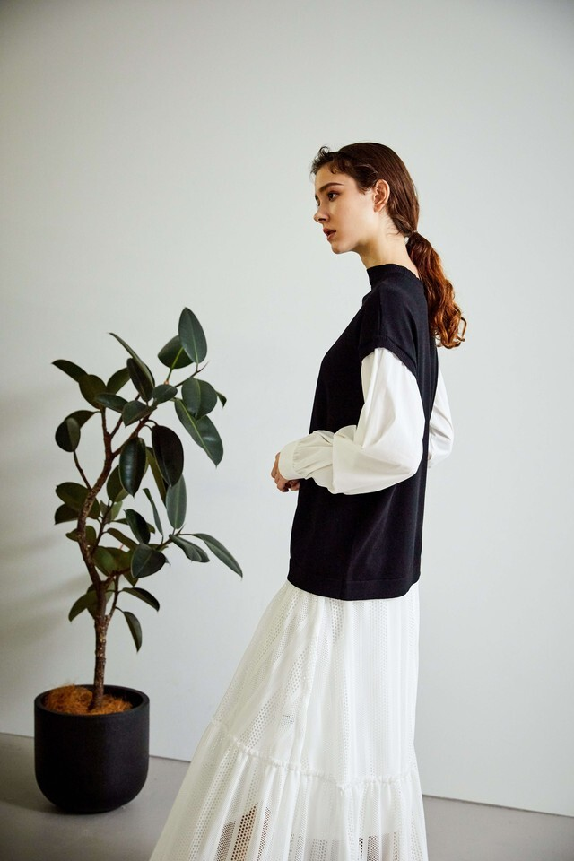 203030 袖ツイストシャツドッキングニット
