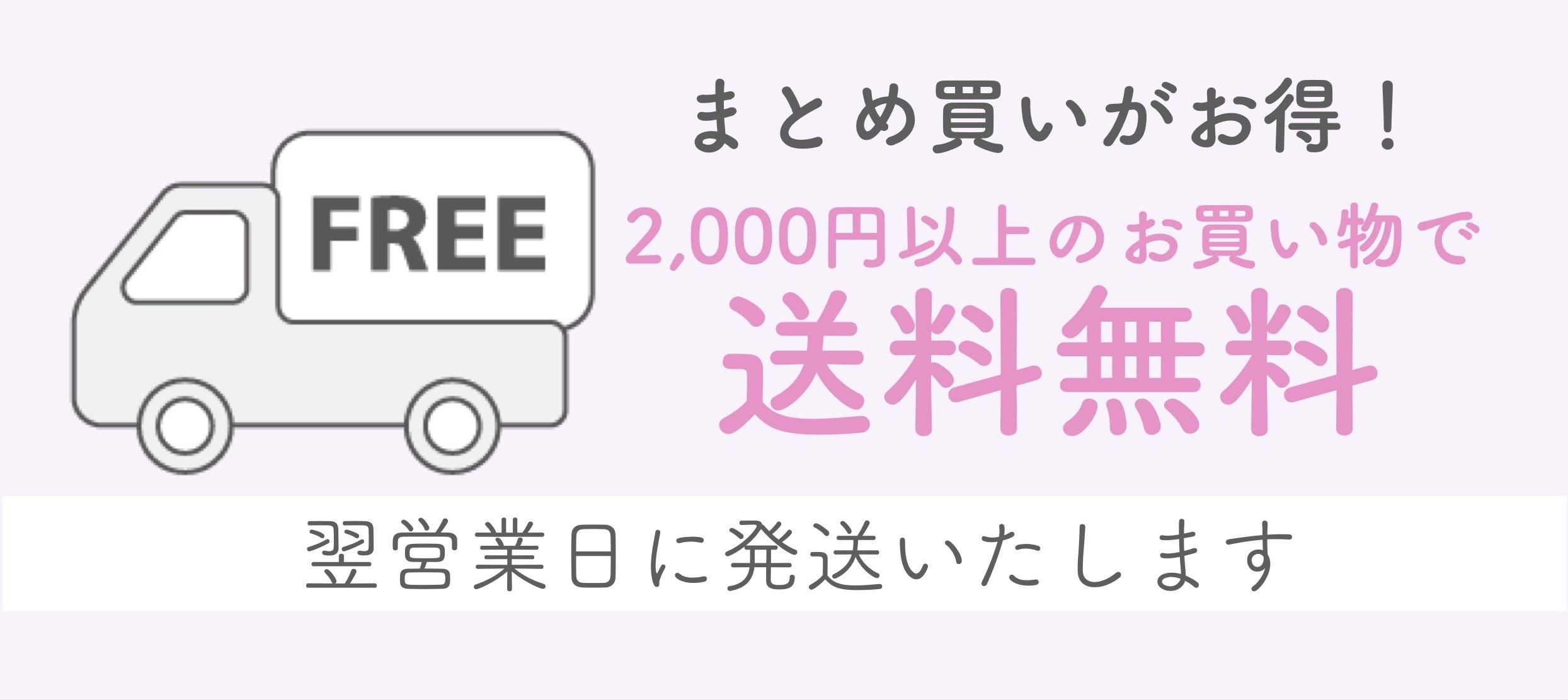まとめ買いがお得! 2000円以上のお買い物で送料無料 翌営業日に発送いたします