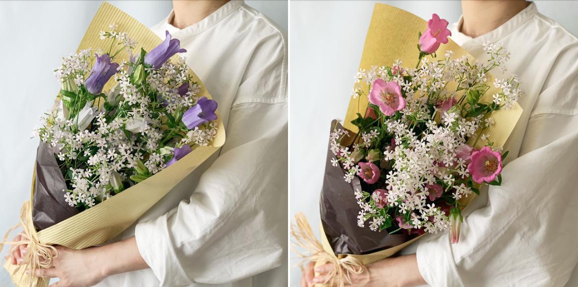 ブルーとピンク、どちらがお好きですか? 春のよいはな特製花束 カンパニュラ5本・サクラコマチ5本