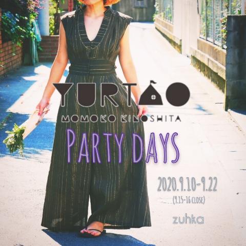 POPUPイベント「YURTAO PARTY DAYS」のお知らせ