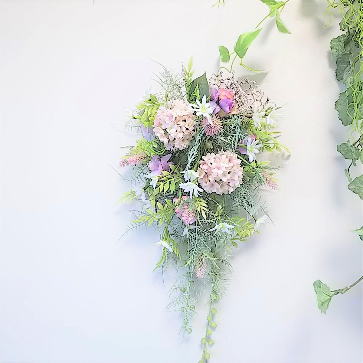 スノーボール と 小花 の ナチュラル スワッグ アーティフィシャルフラワー