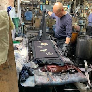 手ぬぐい「注染」染工場の写真 松竹梅