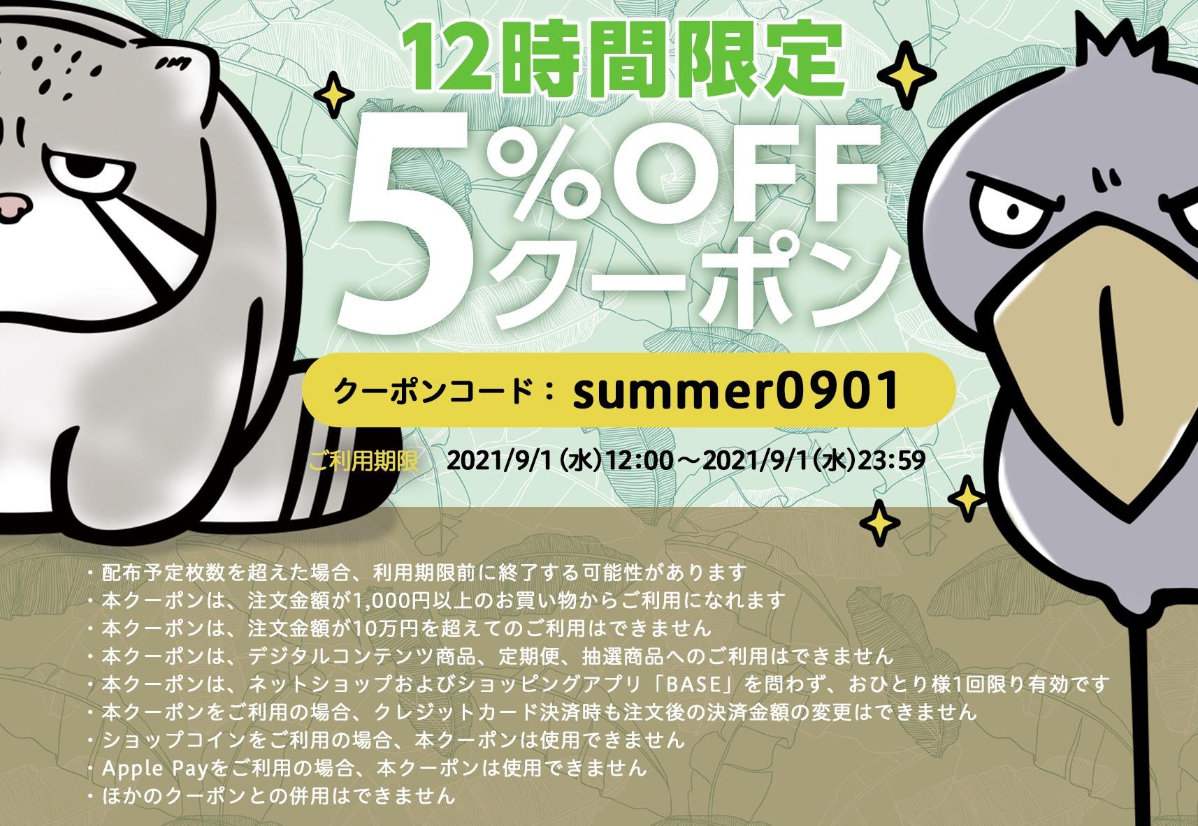 【12時間限定】9月1日全品5%OFFクーポン配布中