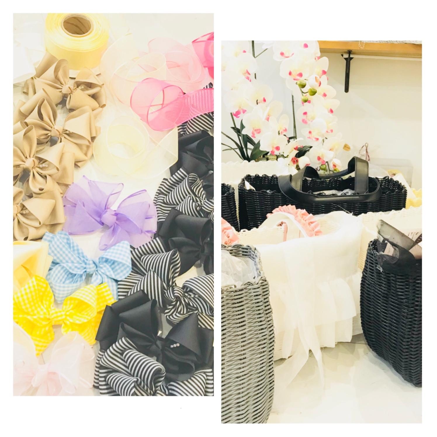 製作進行状況のお知らせ〜スプリング&サマー〜ドッグキャリー リボン付きカゴバッグ