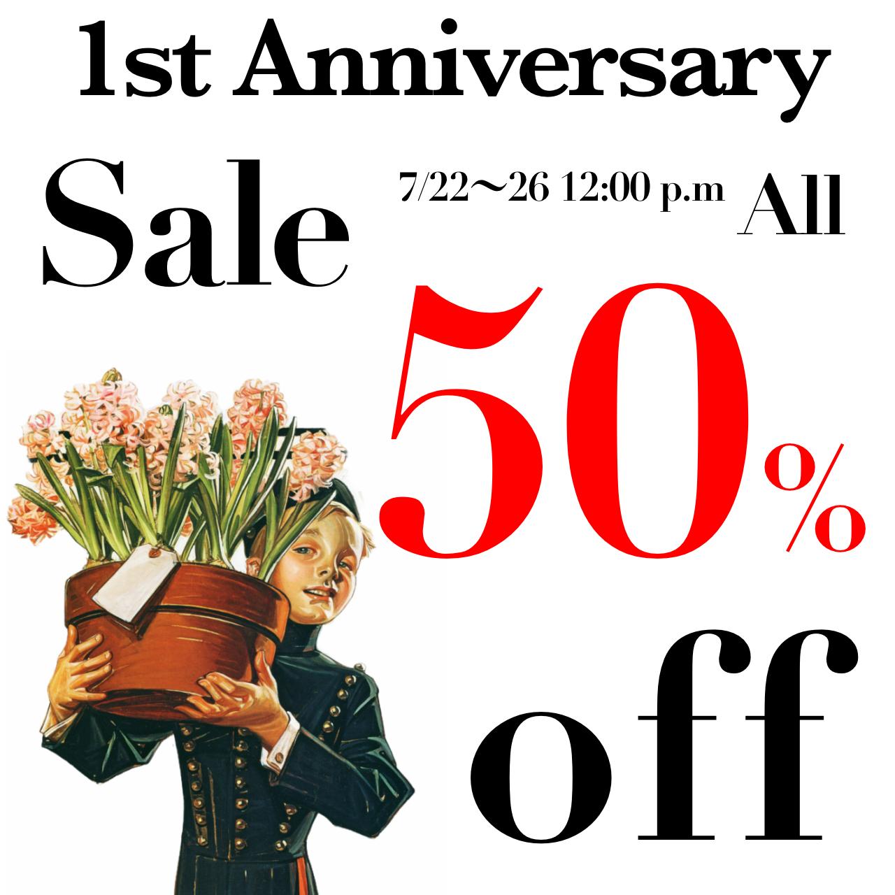 1周年記念✨全品50%off Sale開催中❗️