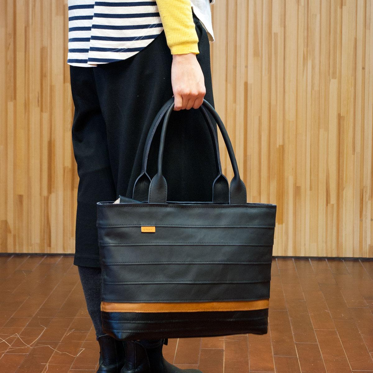 絶妙な色合、ボーダーレザートートバッグが出来ました。