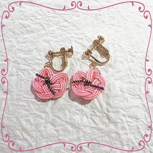 水引ネコのイヤリング ピンク♡