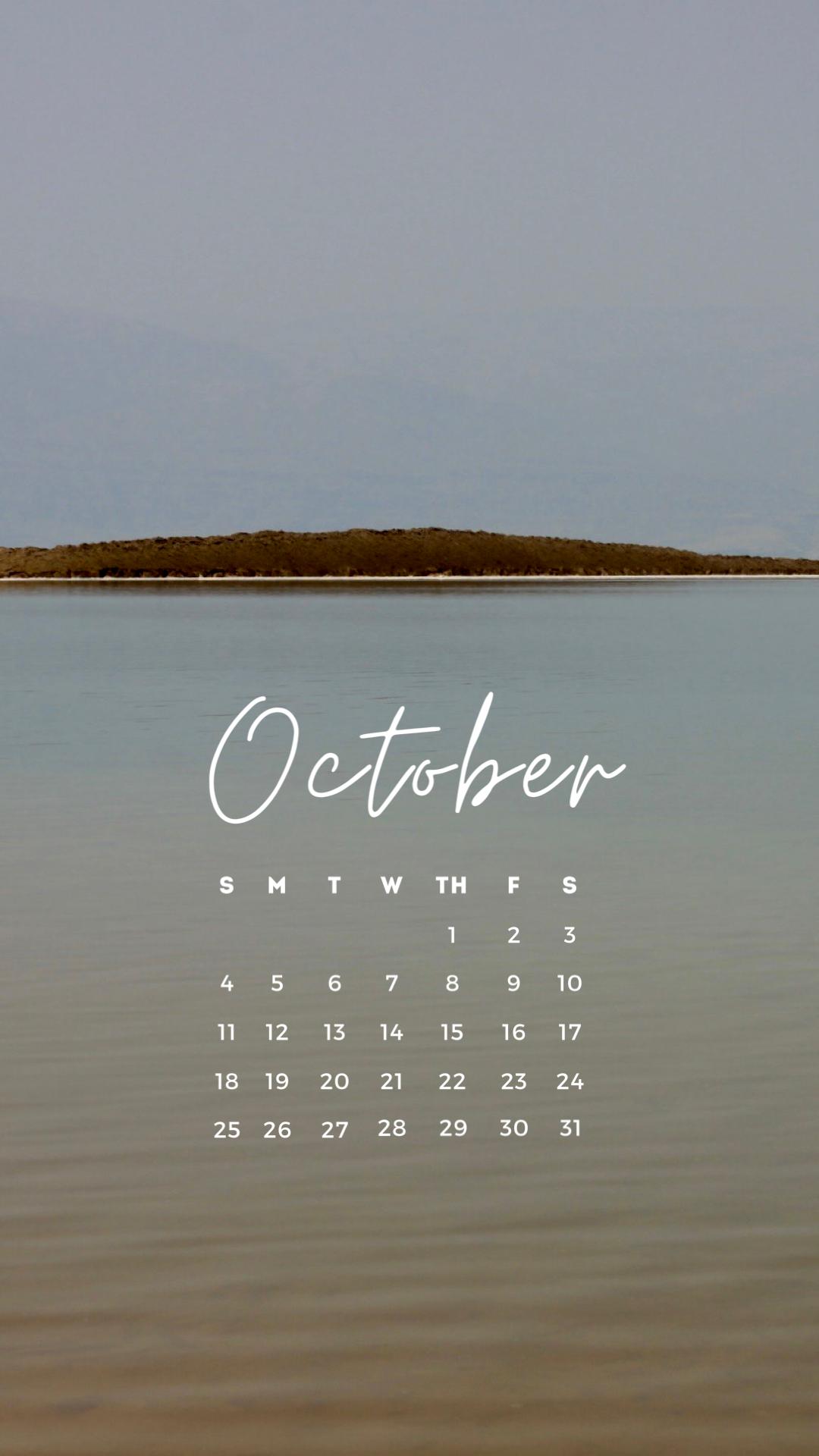 無料ロック画面カレンダー  10月版