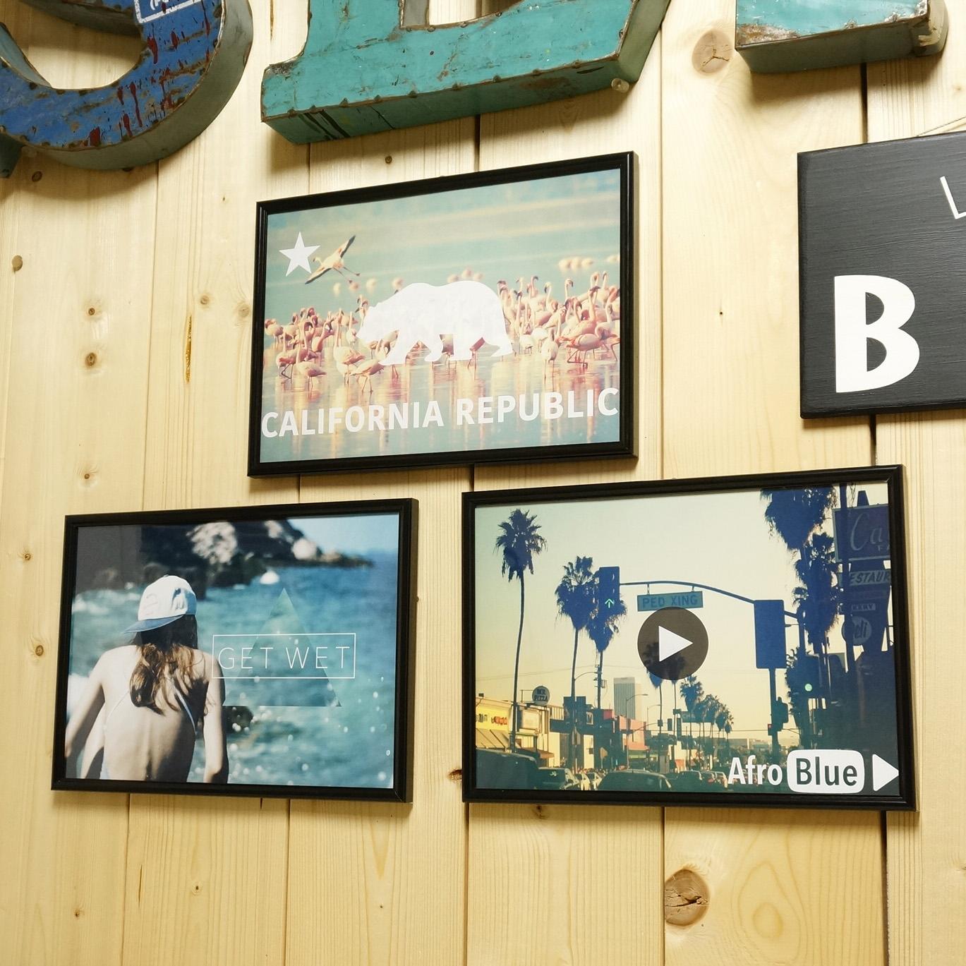 カリフォルニアスタイル・アメリカンカジュアルなAFRO BLUEオリジナルフォトアートポスター