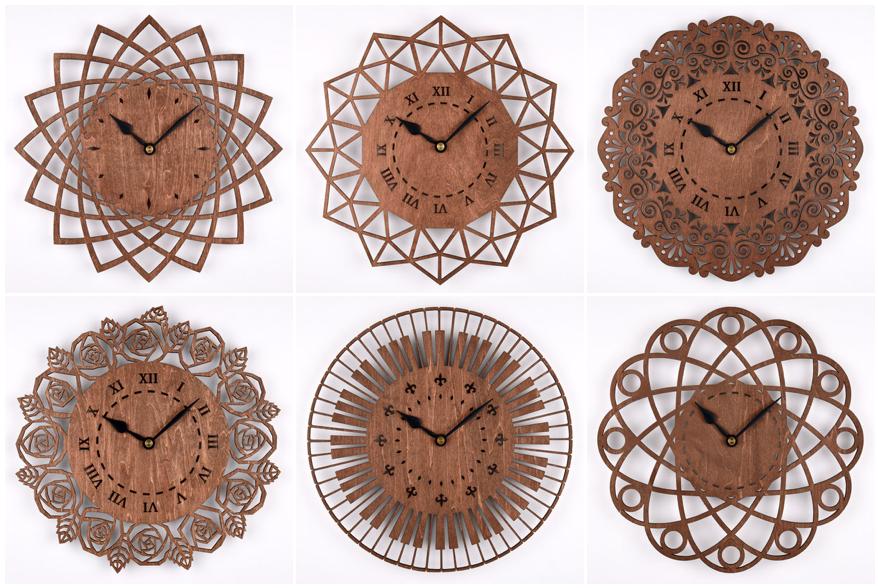 木の壁掛け時計(木製ウォールクロック)