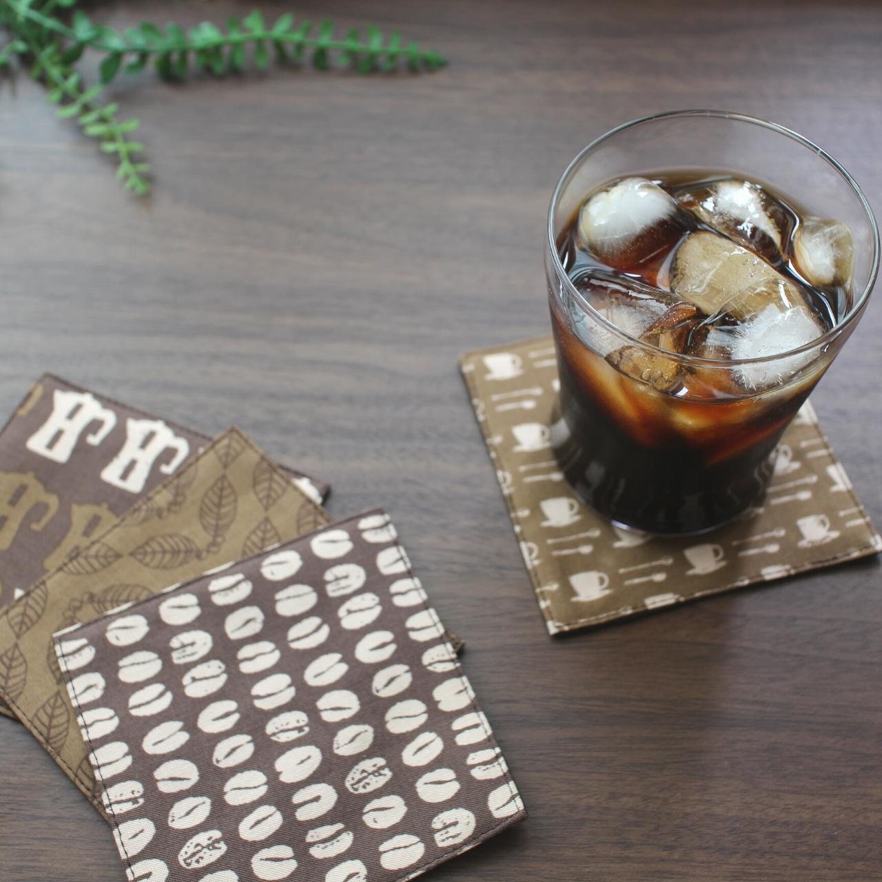 【再入荷】コースター4枚セット・コーヒー柄