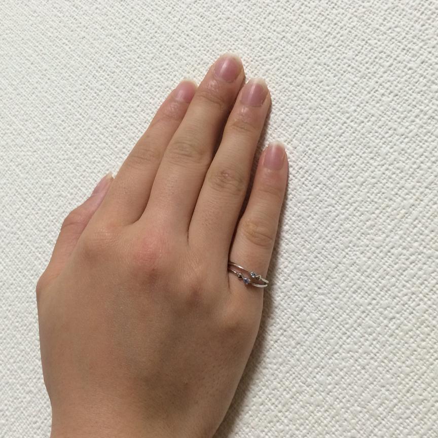 【おしゃれ感UP!】ブルー石×ハート型の2連ピンキーリング R67