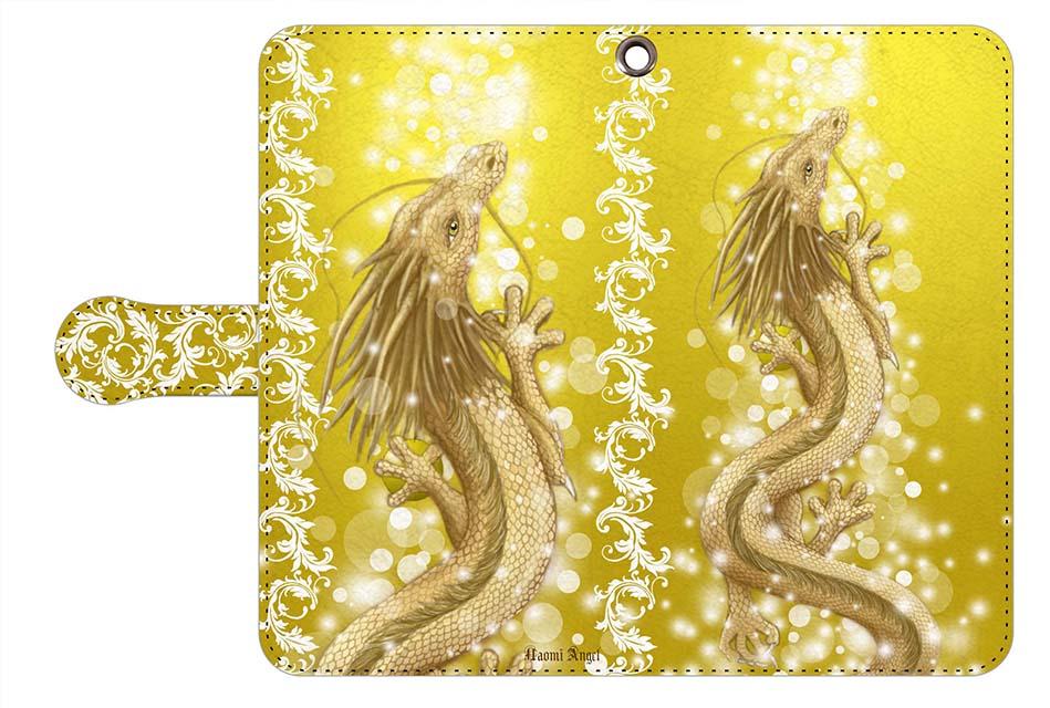 豊かさの金龍の手帳型スマートフォンカバー&グリッタークリアーケースをショッピングカートに追加♪