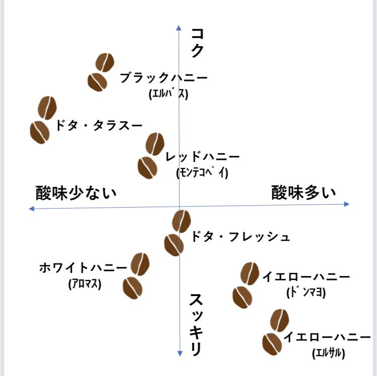 当店のコーヒーの風味マップ