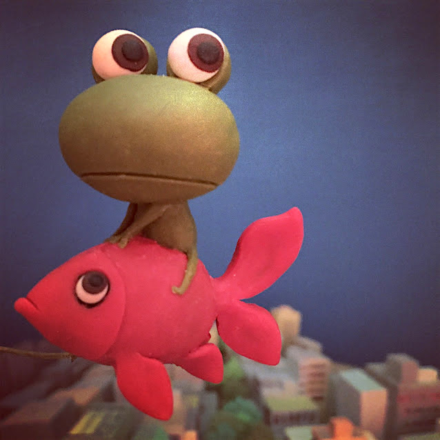 世界に1つ! ハンドメイドクレイ人形 〜 カエルと金魚のストーリー 〜