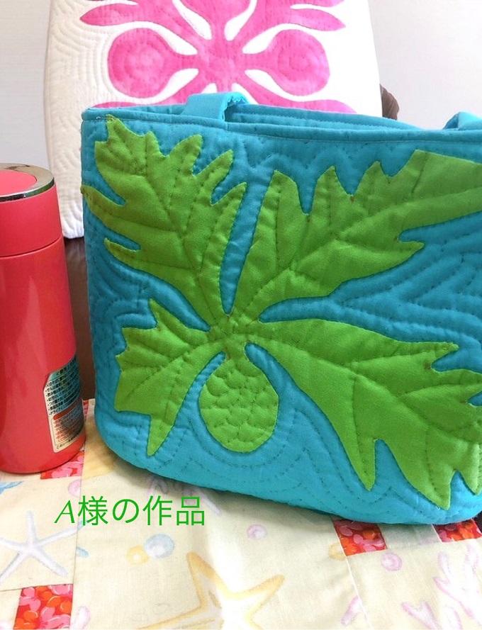 (14)お客様の作品 A様が作って下さった「パンの木のランチバッグ」