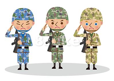 〈商用可〉自衛官・軍人のイラスト素材販売開始!時事ネタイメージとしていかがでしょう?