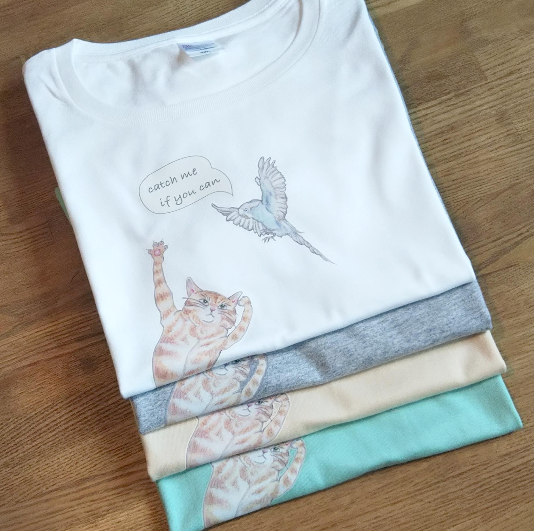 【新商品】鳥と猫のTシャツを作りました☆