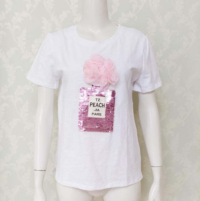30代40代の気になるモチーフ♡スパンコールの香水瓶Tシャツ