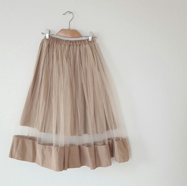 秋にぴったり♡スエード素材のチュールフレアスカート♡