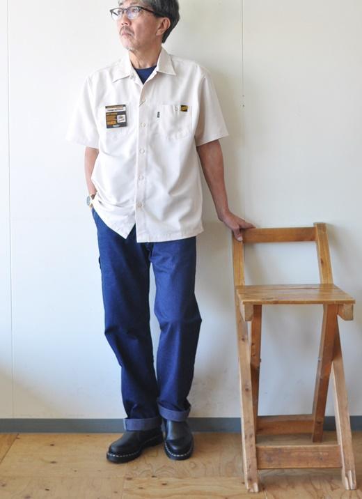 7月15日 今日のコーディネート オフベージュの半袖オープンカラーシャツに デニムペインター