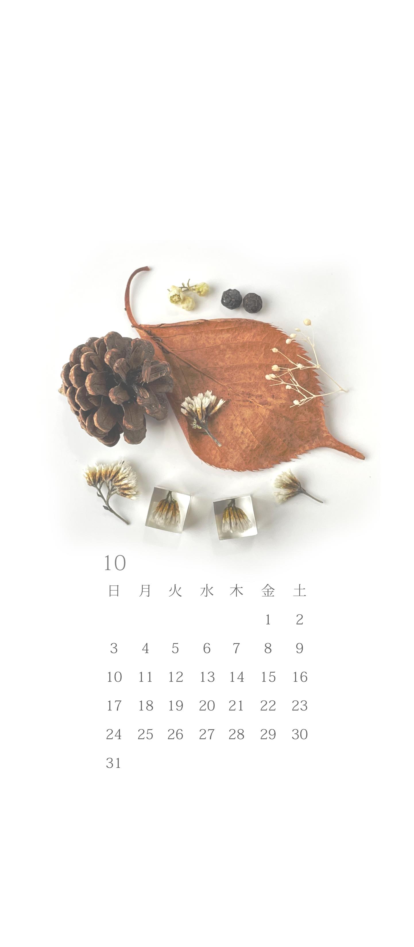 無料ロック画面カレンダー 「10月 秋の収穫」